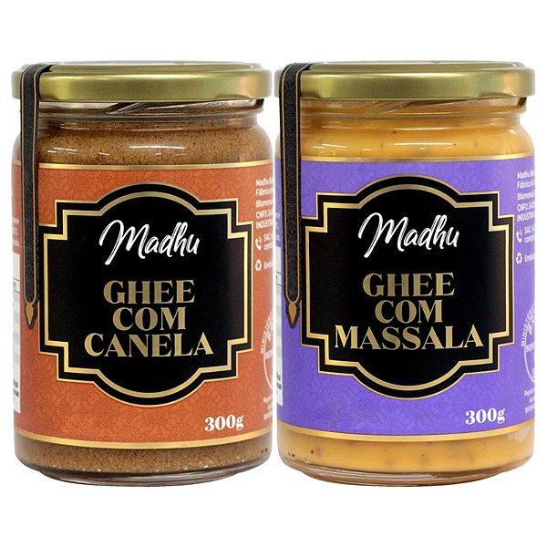 Kit 2 Manteiga Ghee Madhu Massala/canela 300g