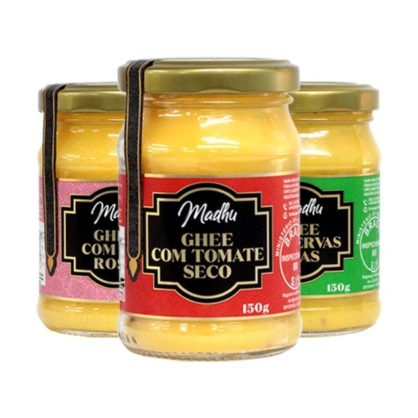 Kit 3 Manteiga Ghee Madhu Sal Do himalaia/Ervas Finas/Tomate Seco 150g