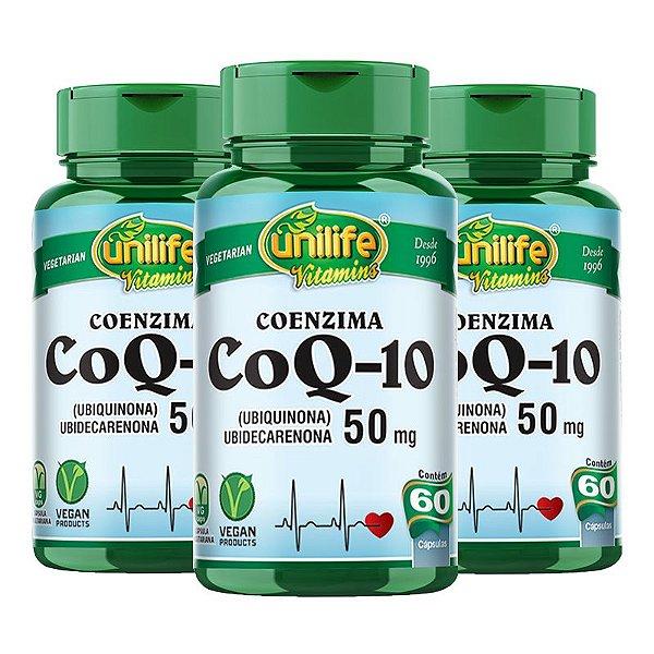 Kit 3 Coenzima CoQ-10 - 50 mg Unilife 60 Capsulas Veganas