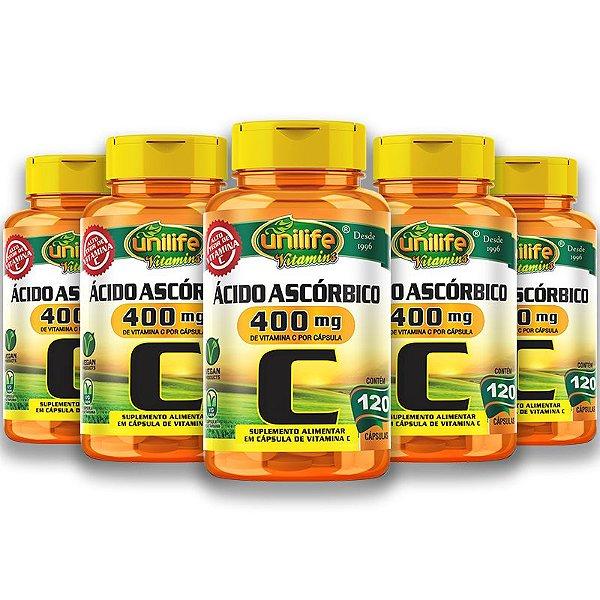 Kit 5 Vitamina C Ácido Ascórbico Unilife 120 Capsulas Veganas