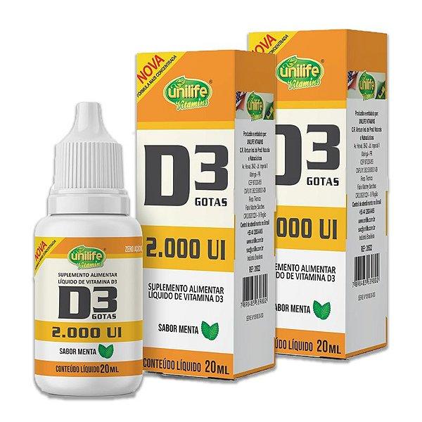 Kit 2 Vitamina D3 2.000 UI Unilife Menta 20ml