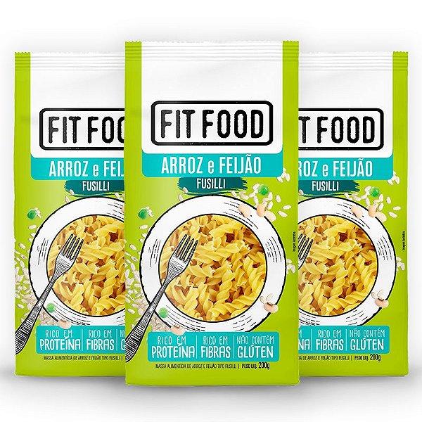 Kit 3 Macarrão Fusilli Fit Food Arroz Com Feijão 200 gramas