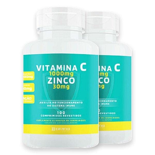Kit 2 Vitamina C 1g + Zinco 30mg Divina Pharma 100Und