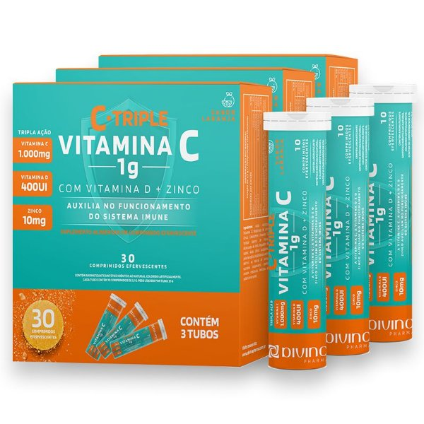 Kit 3 C-Triple Efervescente Vitamina C 1g + Zinco 10mg + Vitamina D 400Ui Divina Pharma 30und