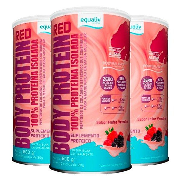 Kit 3 Body Protein Equaliv 600g Frutas Vermelhas