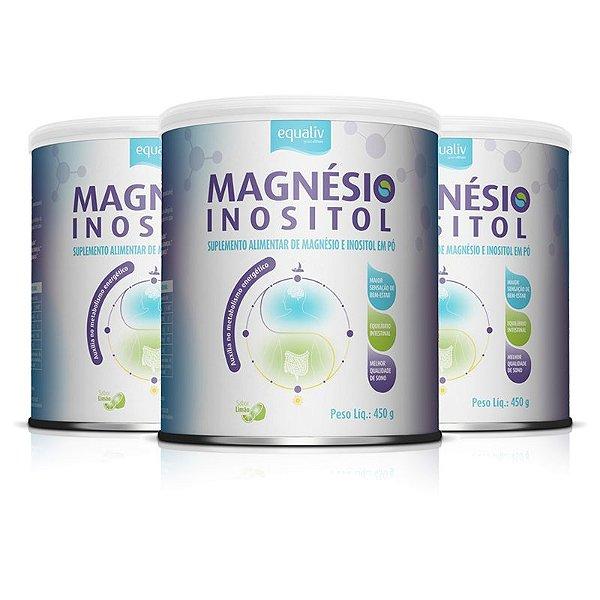 Kit 3 Magnésio Inositol Equaliv 450g Sabor Limão
