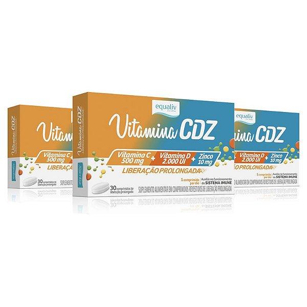 Kit 3 Vitamina CDZ Zinco + C + D Equaliv 30 cápsulas