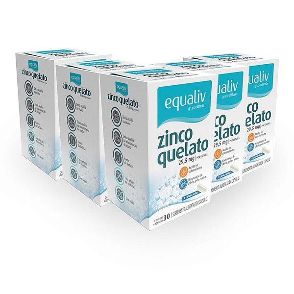 Kit 5 Zinco Quelato 29,59mg Equaliv 30 cápsulas