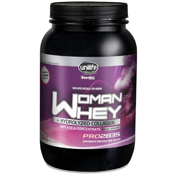 Whey Protein Woman c/ Colageno 900g Morango Unilife