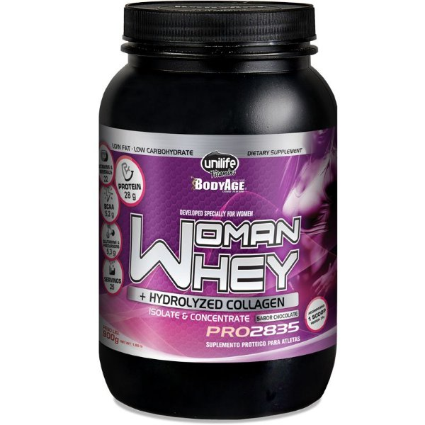 Whey Protein Woman c/ Colageno 900g Chocolate Unilife