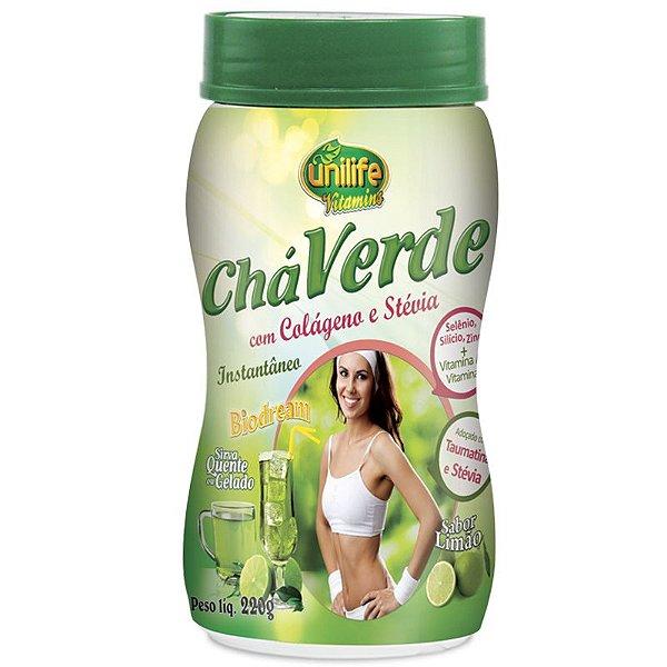 Chá verde com colágeno e stévia 220g Limão Unilife