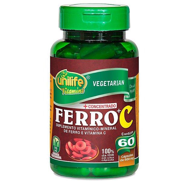 Ferro com Vitamina C 60 cápsulas Unilife