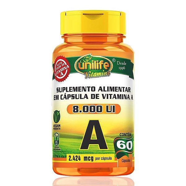 Vitamina A Retinol 60 cápsulas Unilife