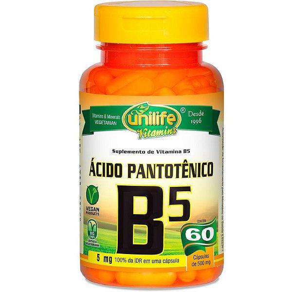 Vitamina B5 Ácido Pantotênico 60 cápsulas Unilife