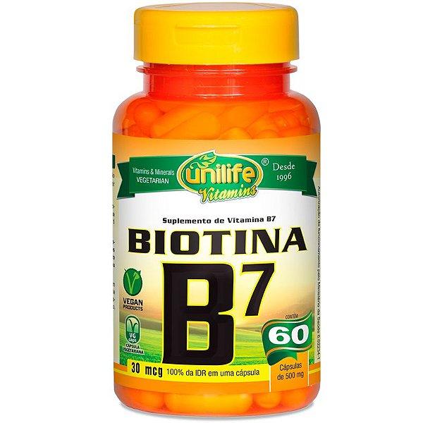 Vitamina B7 Biotina 60 cápsulas Unilife