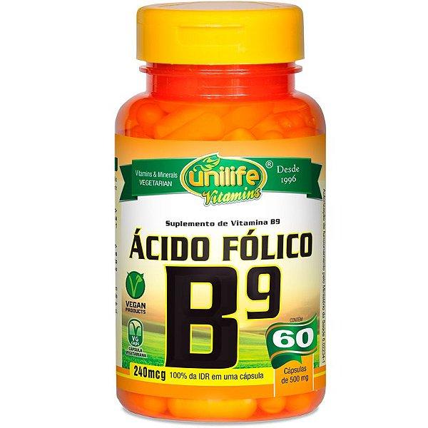 Vitamina B9 Ácido Fólico 60 cápsulas Unilife
