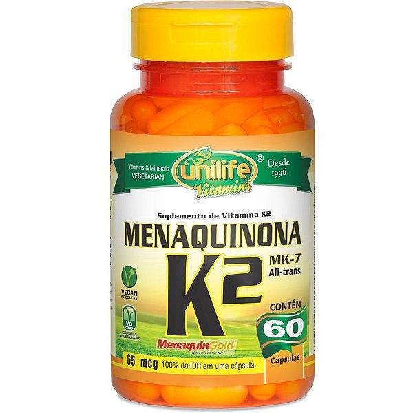 Vitamina K2 Menaquinona mk7 60 cápsulas Unilife