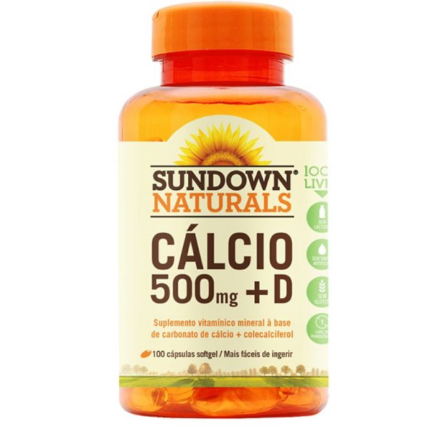 Cálcio 500mg + Vitamina D3 Sundown 100 cápsulas