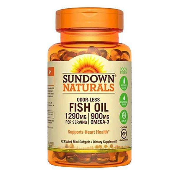 Fish Oil Odorless Óleo de Peixe 1290mg Sundown 72 cápsulas