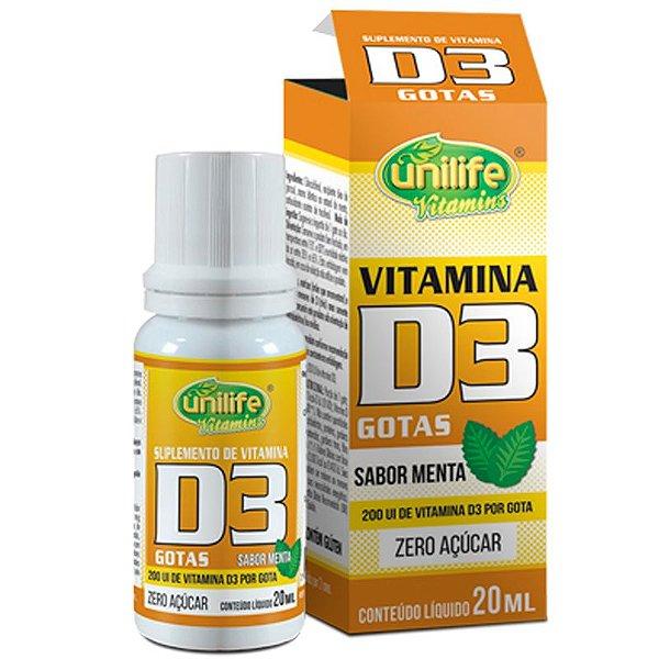 Vitamina D3 20ml Unilife em Gotas sabor Menta