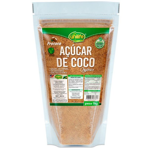 Açúcar de coco 1Kg orgânico Unilife