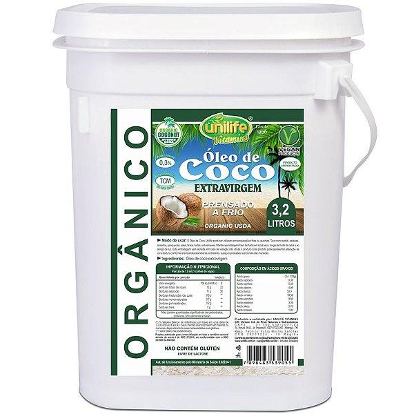 Óleo de Coco Orgânico Extra Virgem Unilife 3,2 litros