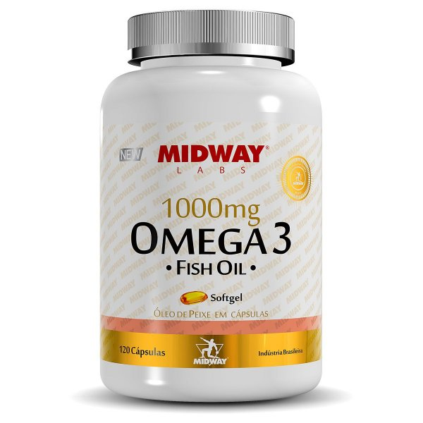 Ômega 3 Fish Oil 1000mg Midway 120 Cápsulas