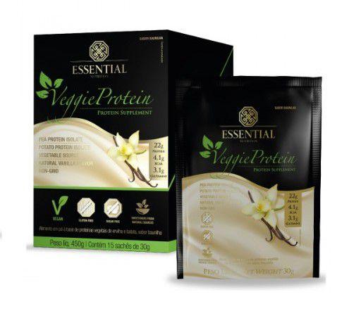 Veggie Vanilla Protein Essential Nutrition Sachê 15 x 30g