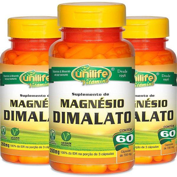 Kit 3 Magnésio Dimalato Unilife 60 cápsulas