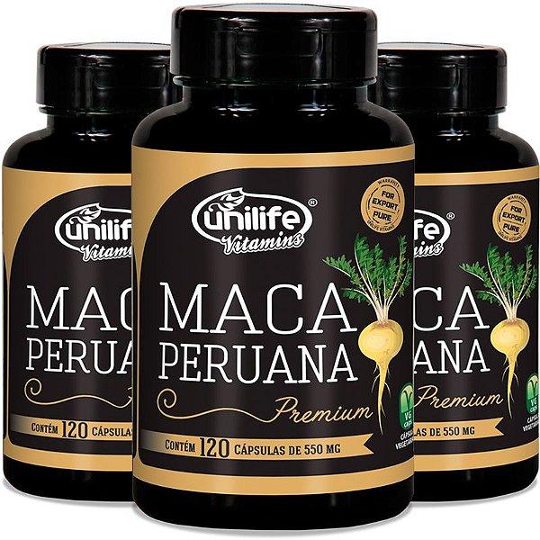 Kit 3 Maca peruana Premium 550mg Unilife 120 cápsulas