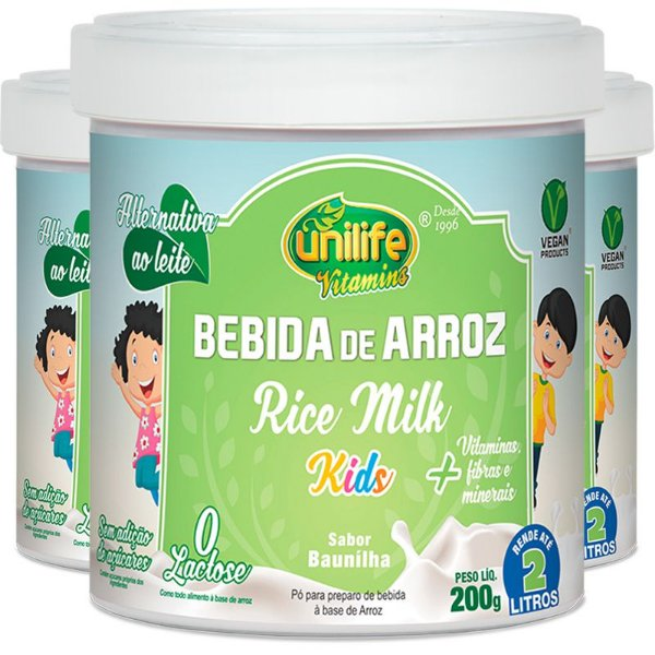 Kit 3 Bebida De Arroz Unilife sem Lactose Kids 200g