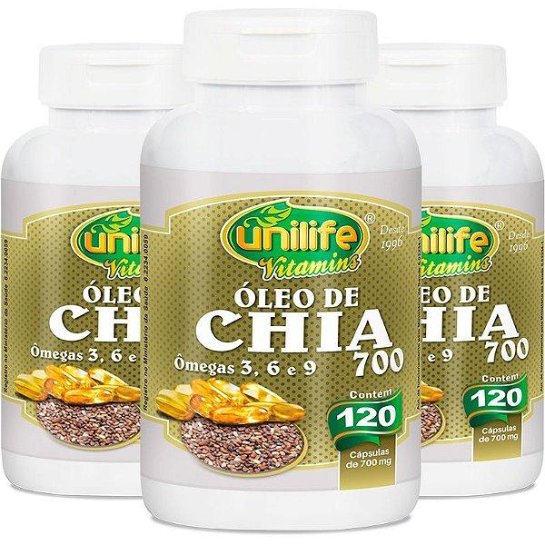 Kit 3 Óleo de Chia Unilife 120 Cápsulas