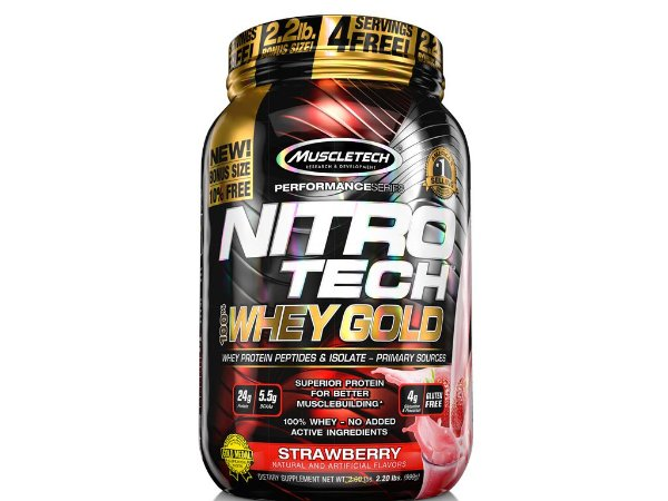 Nitro tech Whey Gold Muscletech 999g Strawberry