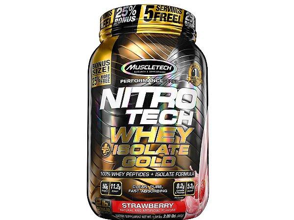 Nitro tech Whey Gold Isolate Muscletech 907g Strawberry