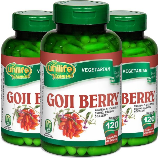 Kit - 3 Goji Berry 120 cápsulas Unilife