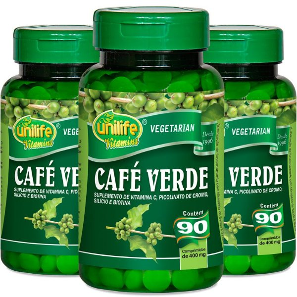 Kit - 3 Café Verde 400mg Unilife 90 cápsulas