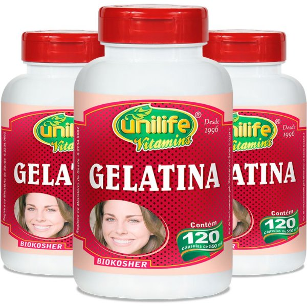 Kit - 3 Gelatina Unilife  120 cápsulas