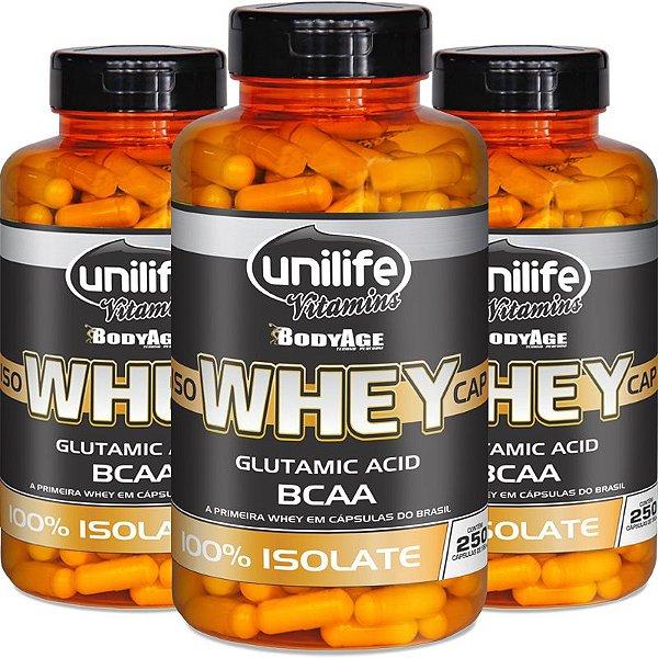 Kit 3 Whey Protein Isolado Unilife 250 capsulas