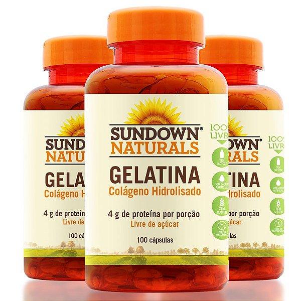Kit - 3 Gelatin Sundown Colágeno 100 Cápsulas