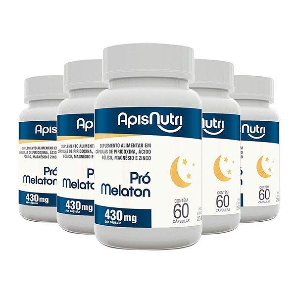 Kit 5 Pró melaton 430mg Apisnutri 60 cápsulas