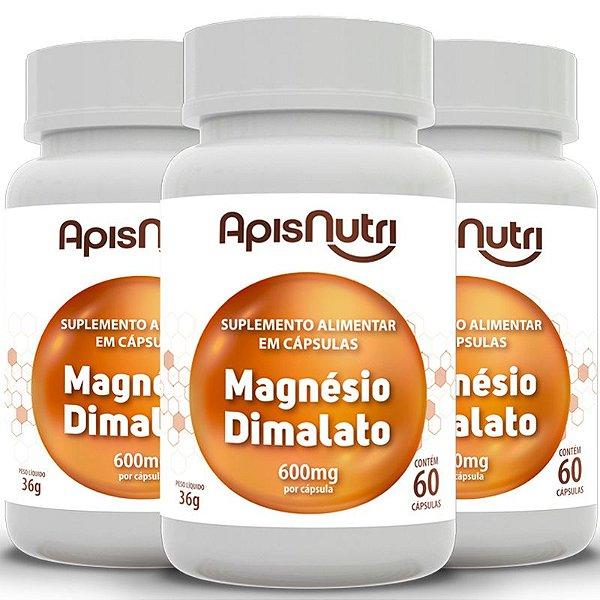 Kit 3 Magnésio dimalato 600mg Apisnutri 60 cápsulas