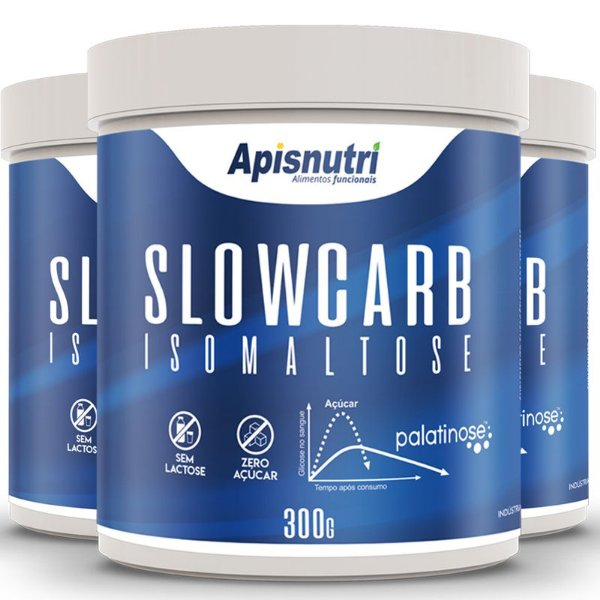 Kit 3 Slowcarb isomaltose palatinose Apisnutri 300g