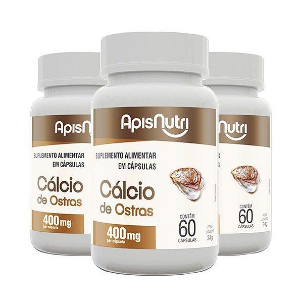 Kit 3 Cálcio de ostras Apisnutri 60 cápsulas