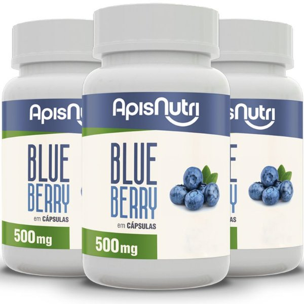 Kit 3 Blueberry Apisnutri 120 cápsulas