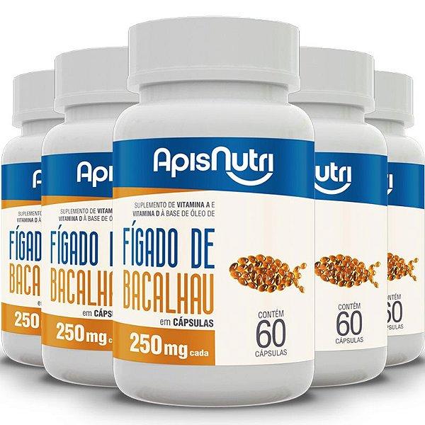 Kit 5 Óleo de fígado de bacalhau Apisnutri 60 cápsulas