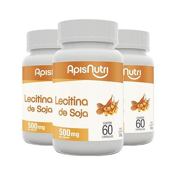 Kit 3 Lecitina de soja 500mg Apisnutri 60 cápsulas