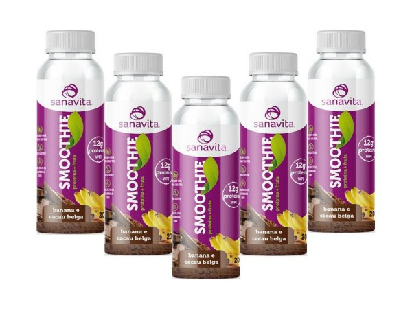 Kit 5 Smoothie Sanavita com 12g de proteina banana