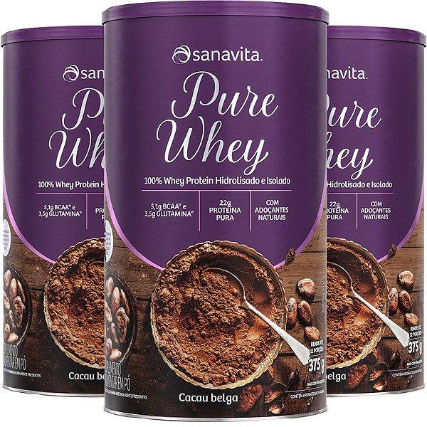 Kit 3 Whey protein 100% H.I Sanavita cacau 375g