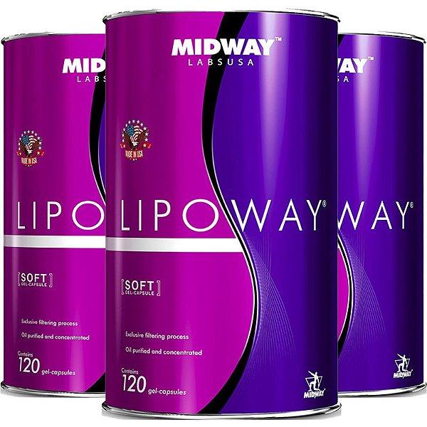 Kit 3 Lipoway reduce Midway 120 cápsulas