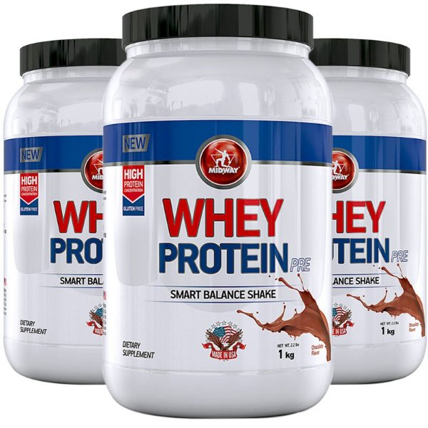 Kit 3 Whey Protein PRE Midway 1KG Chocolate